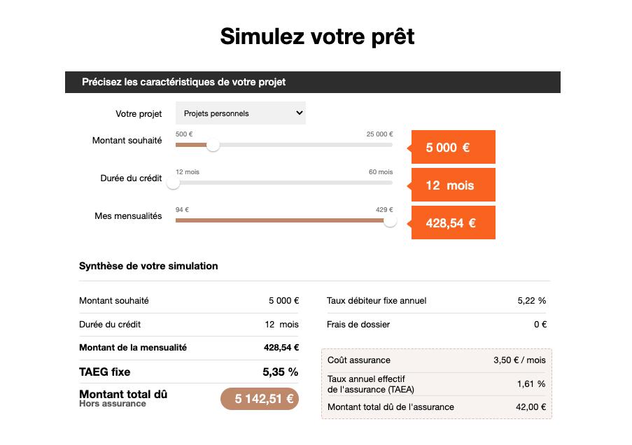 orange bank simulateur pret